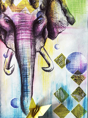 Art-of-Divya-Suvarna_Ink-Paint_Traditional_Art_Elephant_Pride_featured