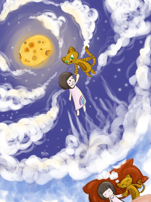 Art-of-Divya-Suvarna_Children-Illustration_04 Brownie the Cat Adventures_Sky of Dreams