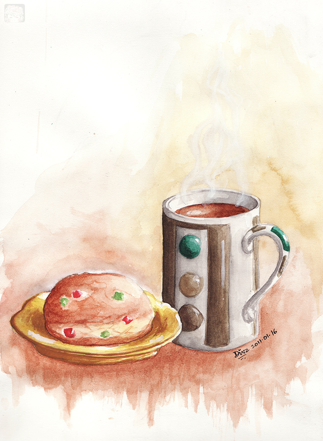 Art-of-Divya-Suvarna_Ink-paint_20110116 Ginger Tea and Tutti Frutti bun