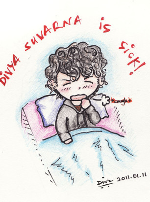Art-of-Divya-Suvarna_Self-portrait_Chibi_i-am-Sick