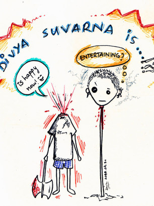 Art-of-Divya-Suvarna_Self-portrait_Chibi_Violence-Entertain An Artist